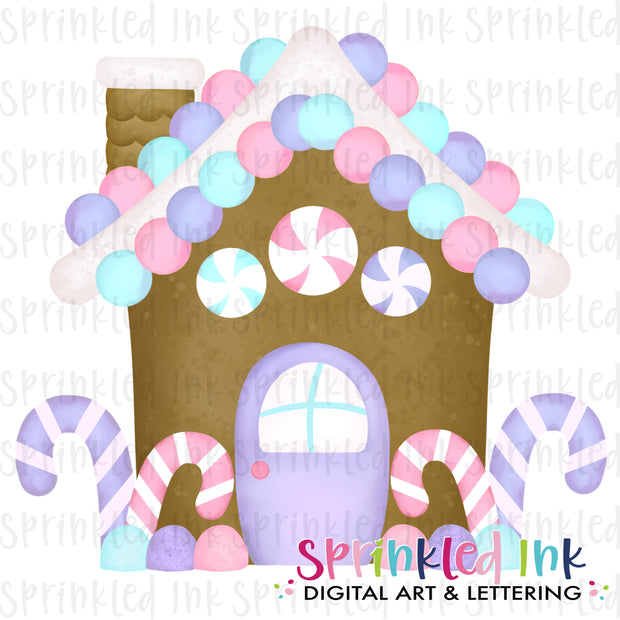 Watercolor PNG Lavender and Pink Gingerbread House Download File - Sprinkled Ink Digital Designs