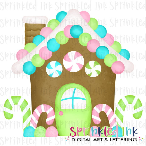 Watercolor PNG Pink Gingerbread House Download File - Sprinkled Ink Digital Designs
