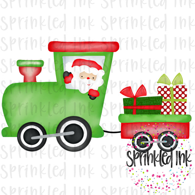 Watercolor PNG Santa Train Download File - Sprinkled Ink Digital Designs