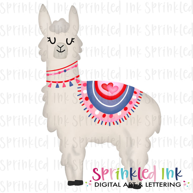 Watercolor PNG Valentine Llama Download File - Sprinkled Ink Digital Designs