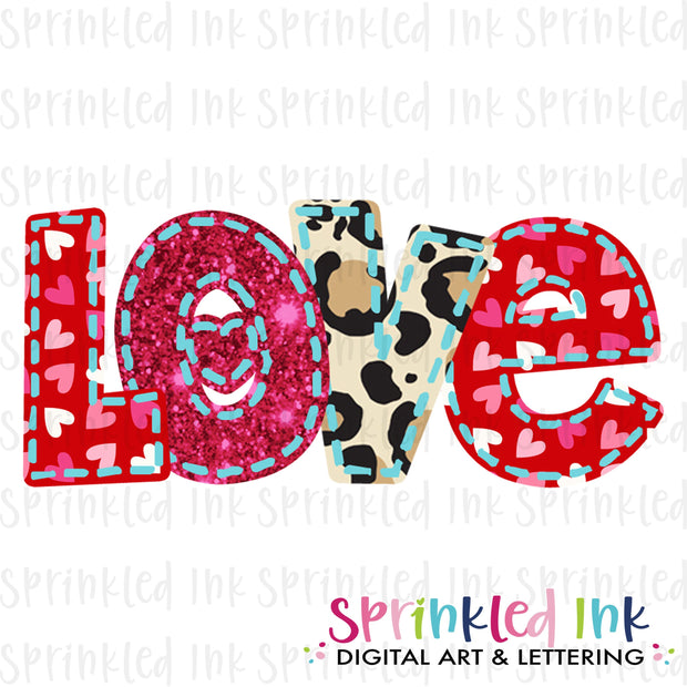 Watercolor PNG Faux Applique LOVE alpha Download File - Sprinkled Ink Digital Designs