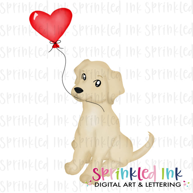 Watercolor PNG Sitting Lab Puppy with Red Heart Balloon Download File - Sprinkled Ink Digital Designs