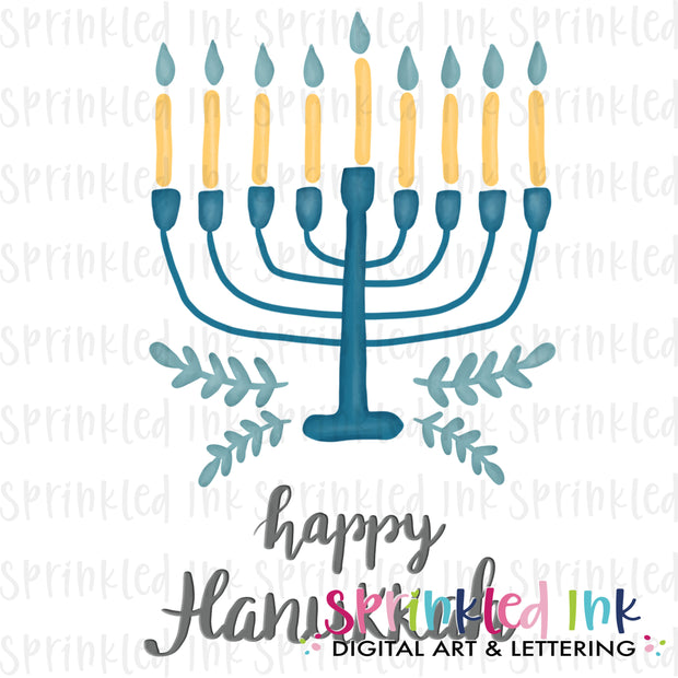 Watercolor PNG Menorah Download File - Sprinkled Ink Digital Designs
