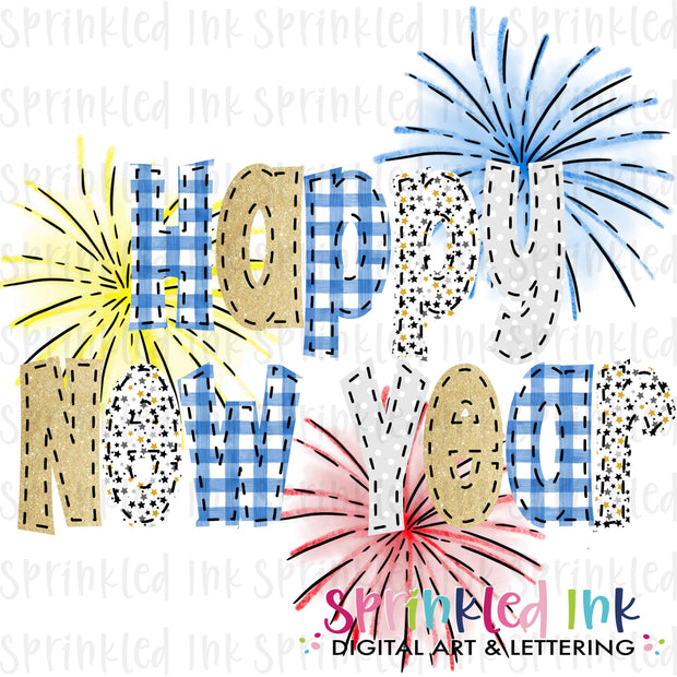 Watercolor PNG Faux Applique New Year with Fireworks Download File - Sprinkled Ink Digital Designs