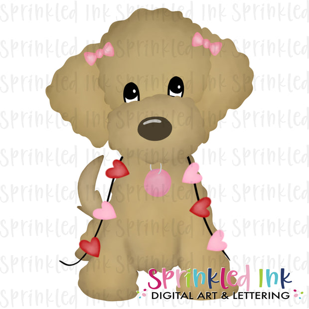 Watercolor PNG Golden Doodle Girl with String of Hearts Download File - Sprinkled Ink Digital Designs
