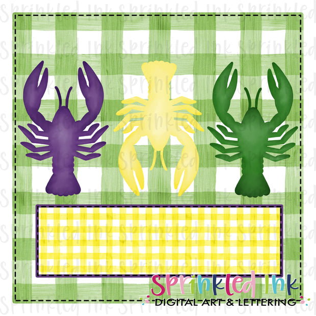 Watercolor PNG Mardi Gras Crawfish Trio with Background Download File - Sprinkled Ink Digital Designs