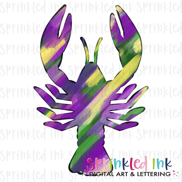 Watercolor PNG Mardi Gras Abstract Crawfish Download File - Sprinkled Ink Digital Designs