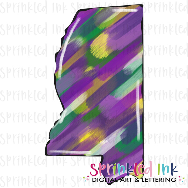 Watercolor PNG Mississippi Mardi Gras Abstract Painted State Download File - Sprinkled Ink Digital Designs