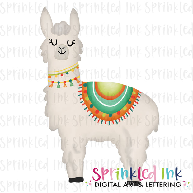 Watercolor PNG Fiesta Llama Download File - Sprinkled Ink Digital Designs