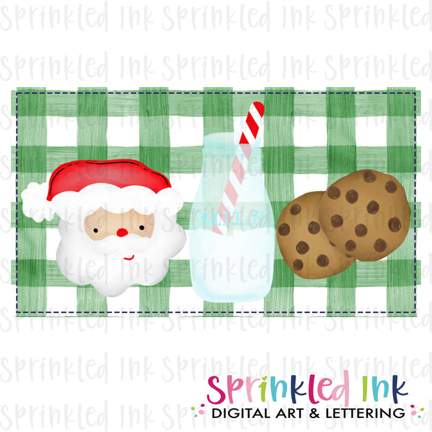 Watercolor PNG Milk and Cookie Santa Download File - Sprinkled Ink Digital Designs