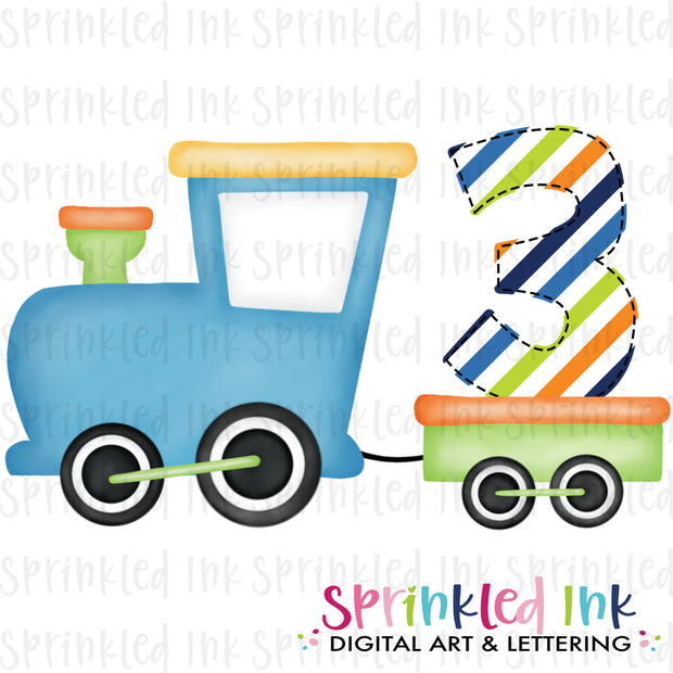 Watercolor PNG Boys Bright 3rd Birthday Train  Download File - Sprinkled Ink Digital Designs