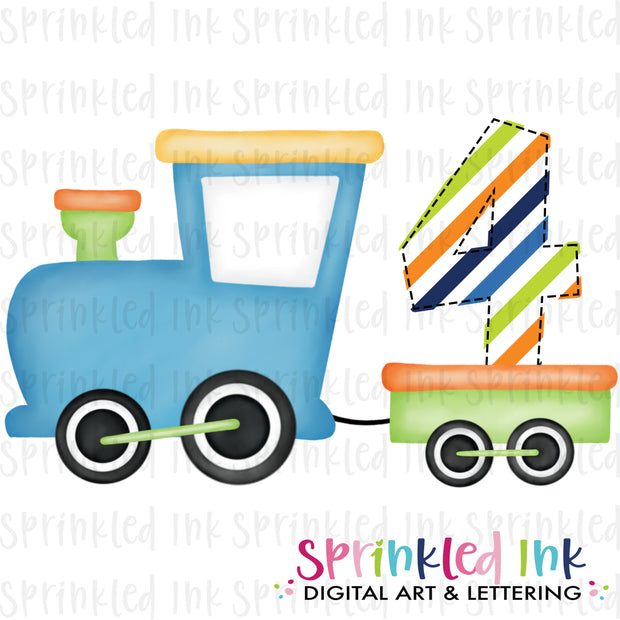 Watercolor PNG Boys Bright 4th Birthday Train  Download File - Sprinkled Ink Digital Designs