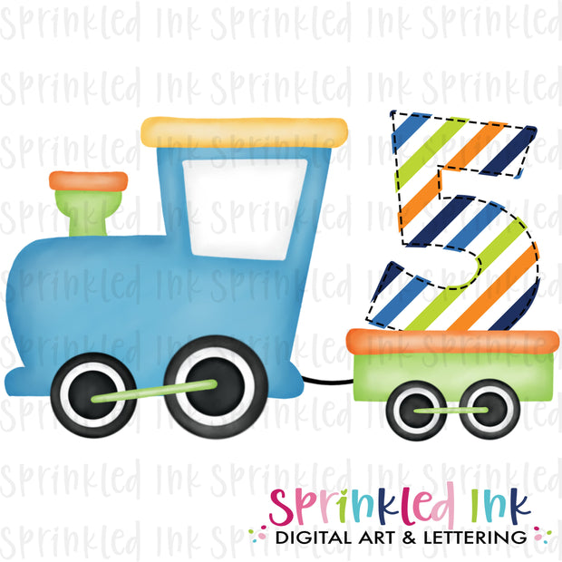 Watercolor PNG Boys Bright 5th Birthday Train  Download File - Sprinkled Ink Digital Designs