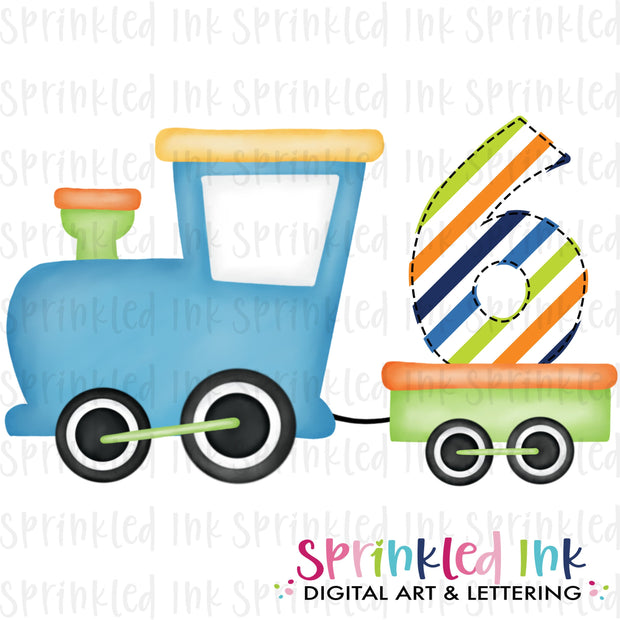 Watercolor PNG Boys Bright 6th Birthday Train  Download File - Sprinkled Ink Digital Designs