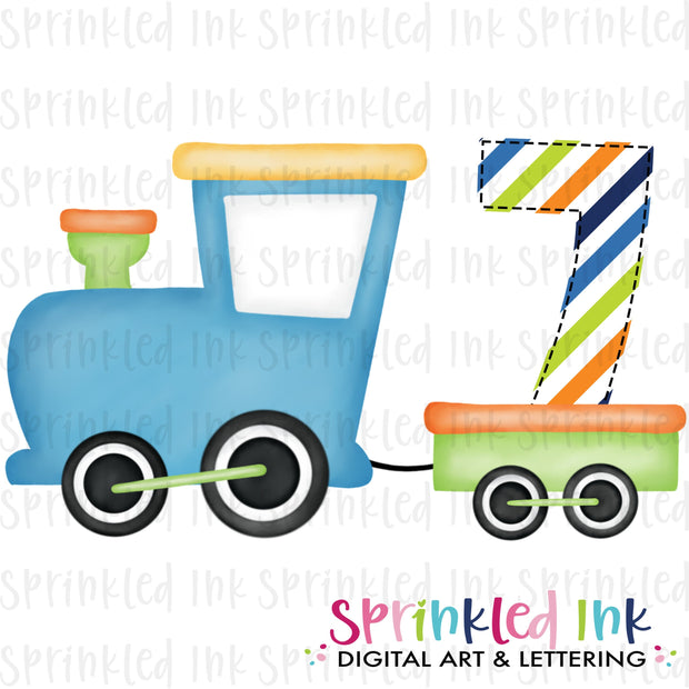 Watercolor PNG Boys Bright 7th Birthday Train  Download File - Sprinkled Ink Digital Designs