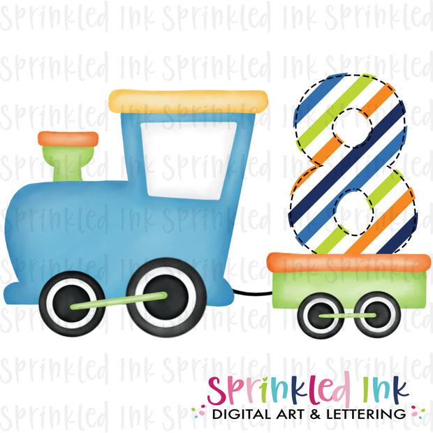 Watercolor PNG Boys Bright 8th Birthday Train  Download File - Sprinkled Ink Digital Designs