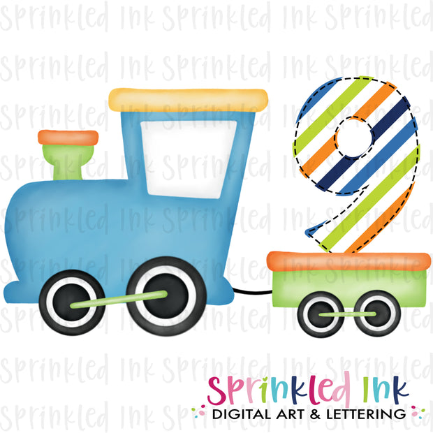 Watercolor PNG Boys Bright 9th Birthday Train  Download File - Sprinkled Ink Digital Designs