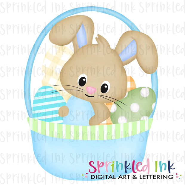 Watercolor PNG Blue Easter Basket Bunny  Download File - Sprinkled Ink Digital Designs