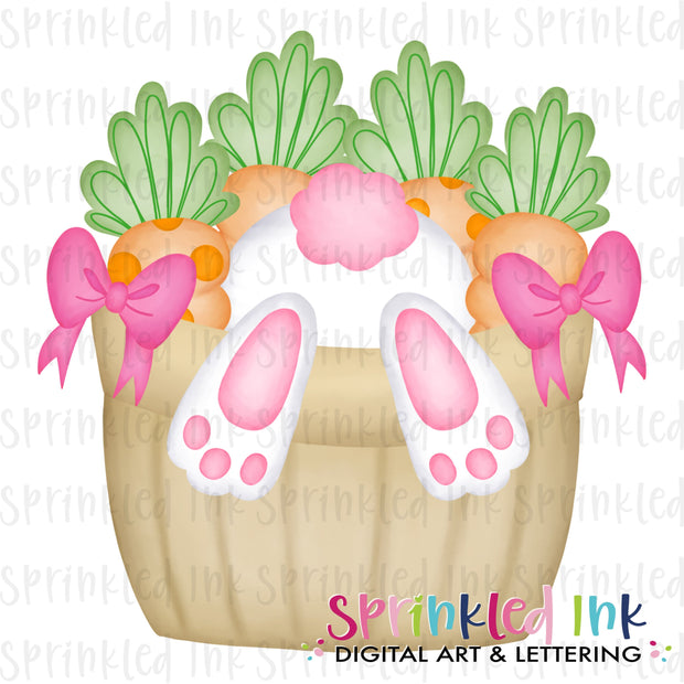 Watercolor PNG Digging Bunny Easter Basket Pink Download File - Sprinkled Ink Digital Designs