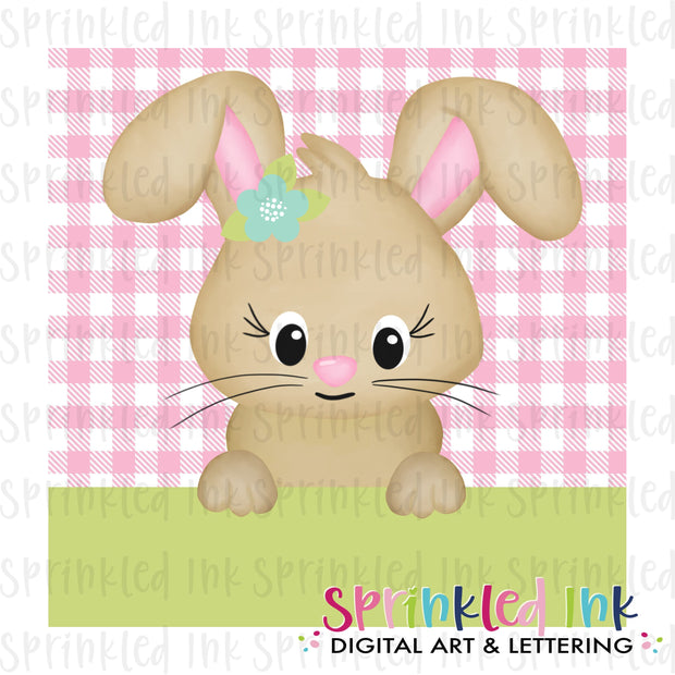 Watercolor PNG Easter Bunny Peeker on Pink Background Download File - Sprinkled Ink Digital Designs
