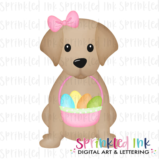Watercolor PNG Sitting Lab Puppy with Pink Easter Basket and Bow Download File - Sprinkled Ink Digital Designs