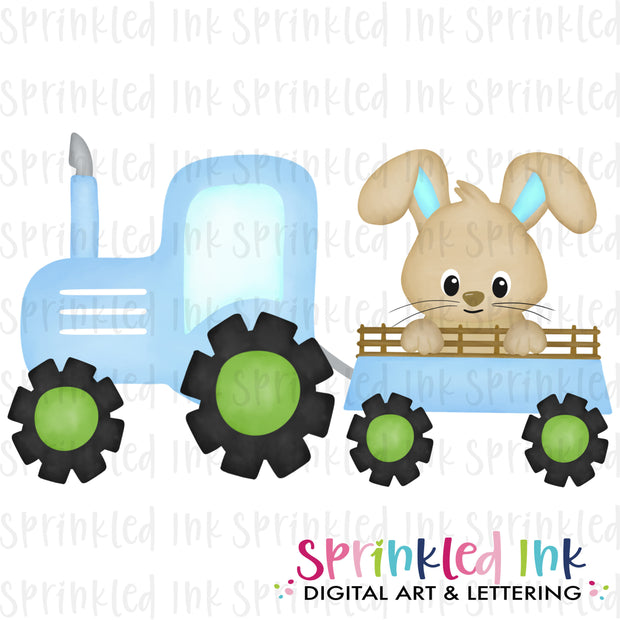 Watercolor PNG Blue Tractor with Easter Bunny Download File - Sprinkled Ink Digital Designs