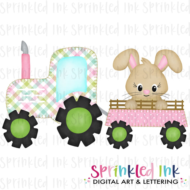 Watercolor PNG Faux Blanket Stitch Pink Tractor with Easter Bunny Download File - Sprinkled Ink Digital Designs