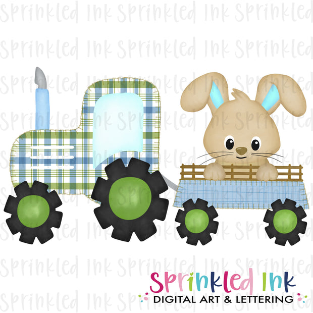Watercolor PNG Faux Blanket Stitch Blue Tractor with Easter Bunny Download File - Sprinkled Ink Digital Designs