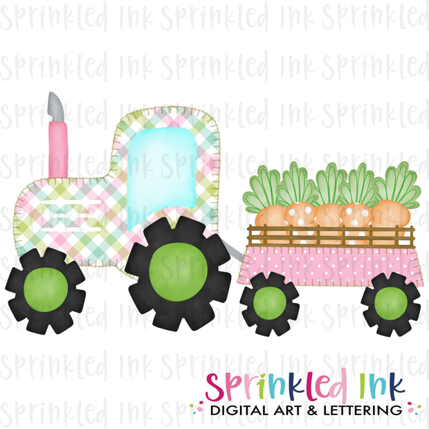 Watercolor PNG Faux Blanket Stitch Pink Tractor with Carrots Download File - Sprinkled Ink Digital Designs