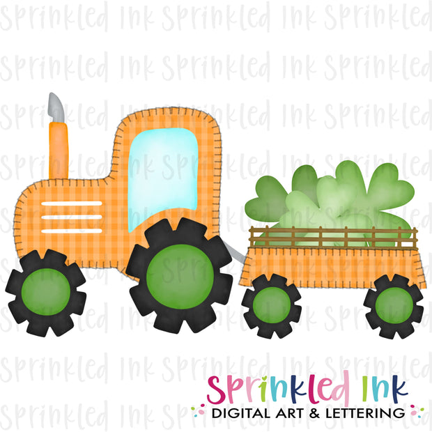 Watercolor PNG Faux Blanket Stitch Orange Tractor with Clovers Download File - Sprinkled Ink Digital Designs