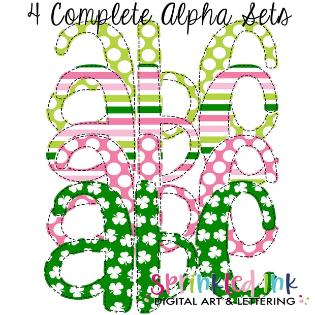 Watercolor PNG Pink and Green St. Patricks Day Faux Applique Alpha Set Digital Download File - Sprinkled Ink Digital Designs