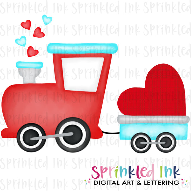 Watercolor PNG  Valentine Heart Train Download File - Sprinkled Ink Digital Designs