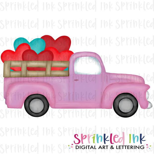 Watercolor PNG Vintage Pink Valentine Heart Bunch Truck Download File - Sprinkled Ink Digital Designs