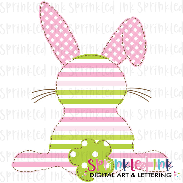 Watercolor PNG Faux Applique Girls Easter Bunny Pink and Green Download File - Sprinkled Ink Digital Designs