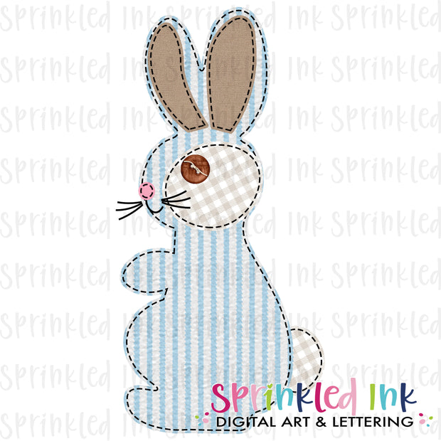 Watercolor PNG Faux Applique Boys Blue Seersucker Bunny Download File - Sprinkled Ink Digital Designs
