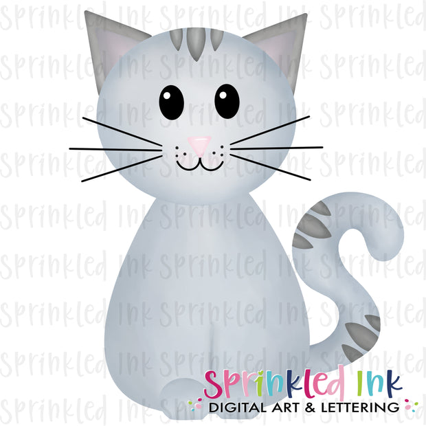 Watercolor PNG Grey Sitting Kitty Download File - Sprinkled Ink Digital Designs