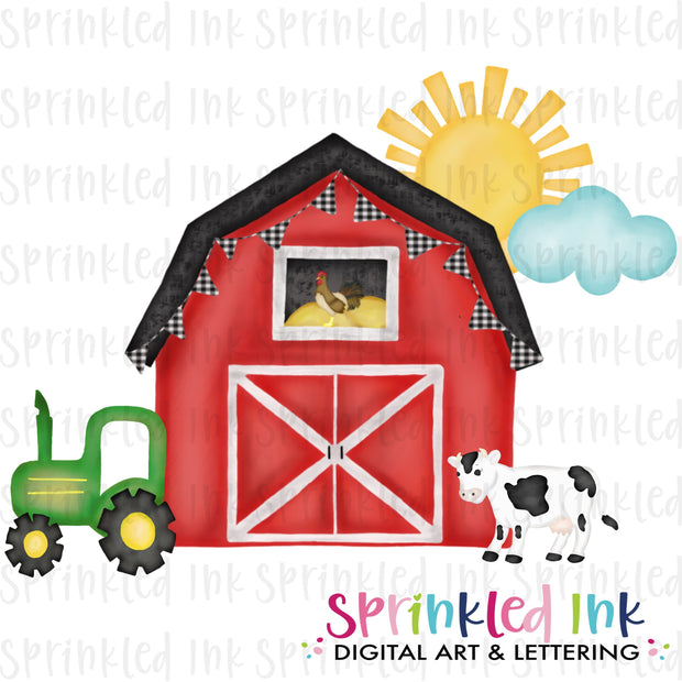 Watercolor PNG Red Barn Farm Download File - Sprinkled Ink Digital Designs