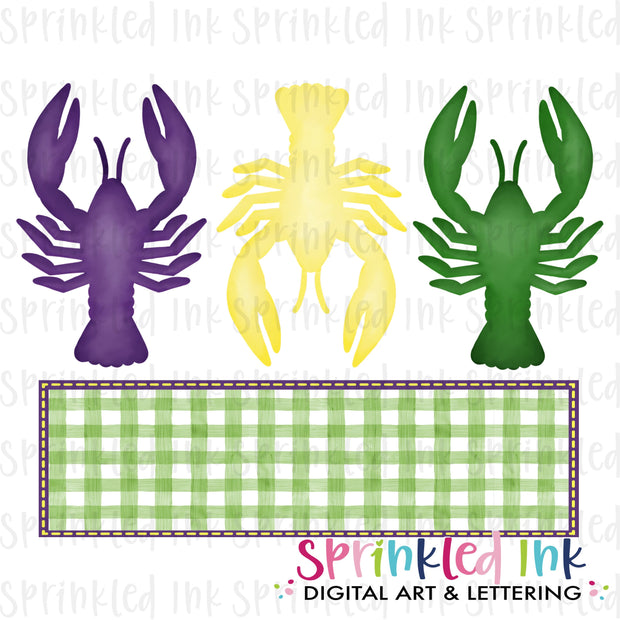Watercolor PNG Mardi Gras Crawfish Trio with Nameplate Download File - Sprinkled Ink Digital Designs