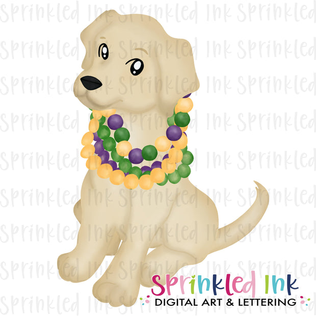 Watercolor PNG Mardi Gras Lab with Beads Download File - Sprinkled Ink Digital Designs