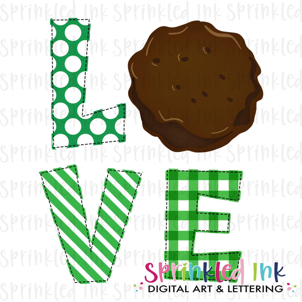 Watercolor PNG Girl Scouts Mint Cookie LOVE Download File - Sprinkled Ink Digital Designs