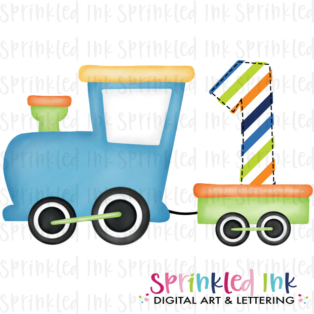 Watercolor PNG Boys Bright 1st Birthday Train  Download File - Sprinkled Ink Digital Designs