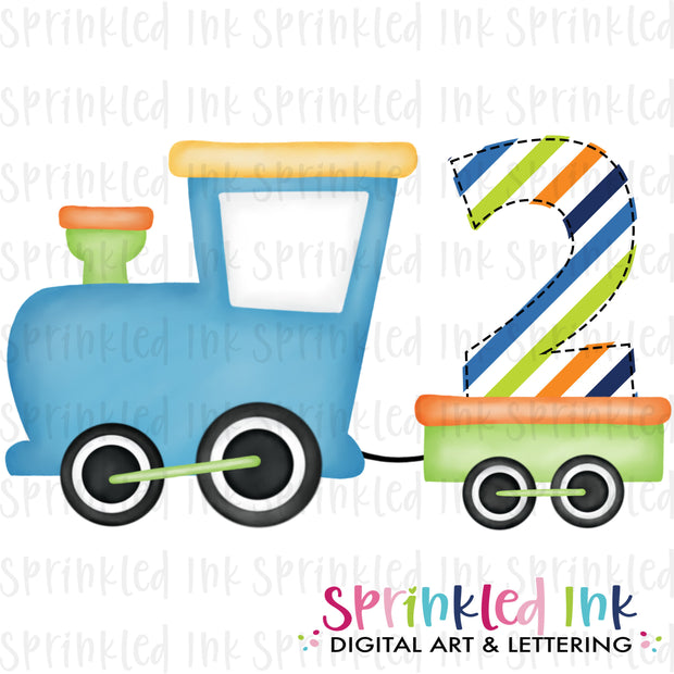 Watercolor PNG Boys Bright 2nd Birthday Train  Download File - Sprinkled Ink Digital Designs