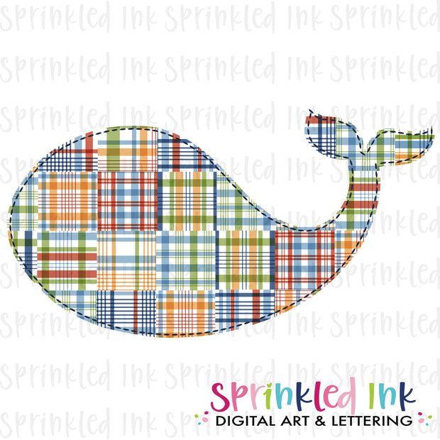 Watercolor PNG Boys Madras Plaid Faux Applique Whale Download File - Sprinkled Ink Digital Designs