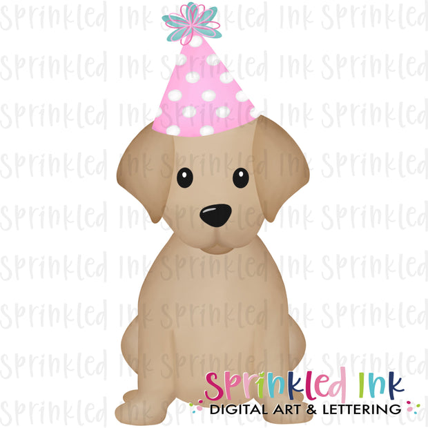 Watercolor PNG Sitting Lab Dog Birthday Girl Download File - Sprinkled Ink Digital Designs