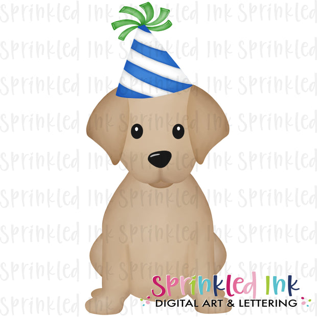 Watercolor PNG Sitting Lab Dog Birthday Boy Download File - Sprinkled Ink Digital Designs
