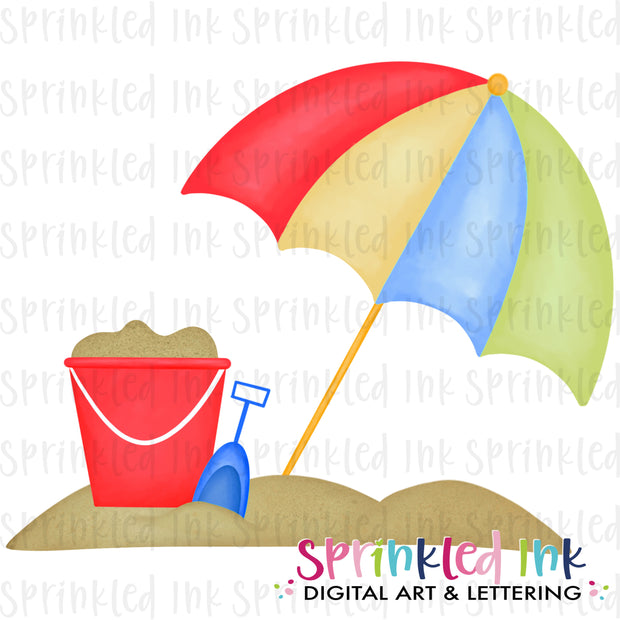 Watercolor PNG Beach Day Umbrella Download File - Sprinkled Ink Digital Designs