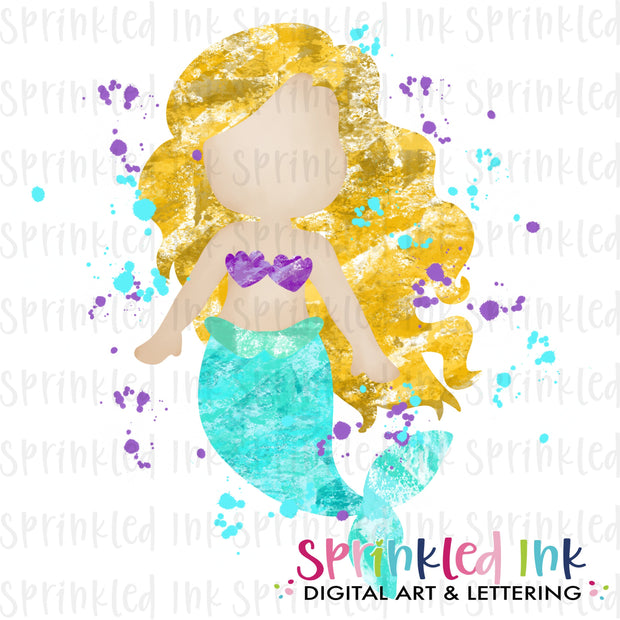 Watercolor PNG Blotted Mermaid Yellow Hair Download File - Sprinkled Ink Digital Designs