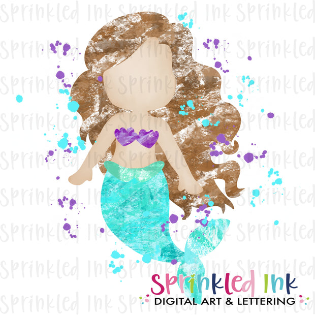 Watercolor PNG Blotted Mermaid Brown Hair Download File - Sprinkled Ink Digital Designs