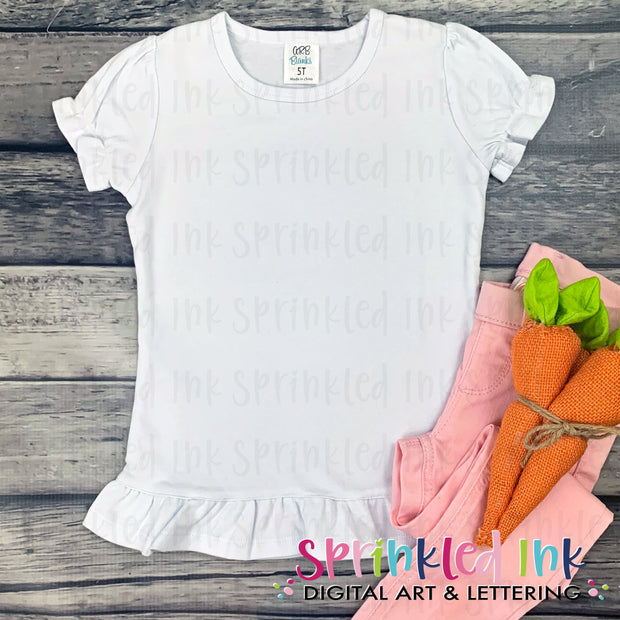Flat Lay Mockup Youth Ruffle Short Sleeve ARB Easter Heat Transfer Sublimation INSTANT DOWNLOAD - Sprinkled Ink Digital Designs