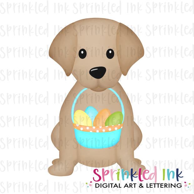 Watercolor PNG Sitting Lab Puppy with Blue Easter Basket Download File - Sprinkled Ink Digital Designs